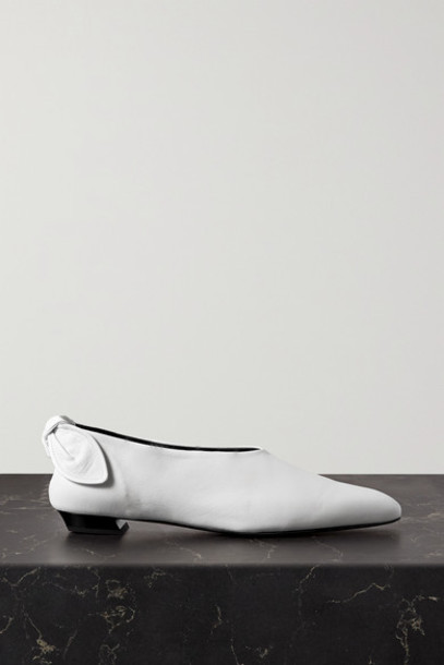 Proenza Schouler - Bow-embellished Leather Ballet Flats - White