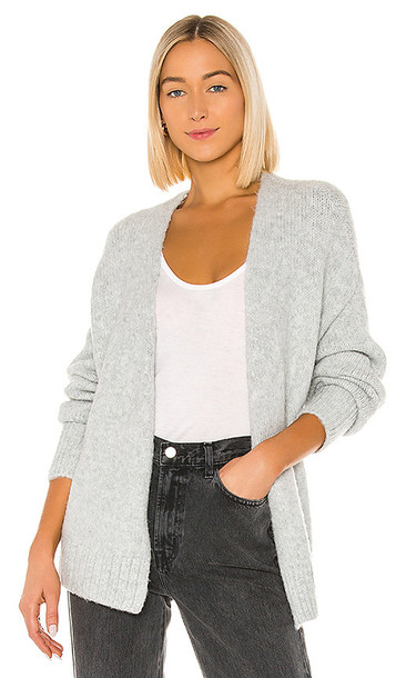 1. STATE Belted Jersey Stitch Cardigan in Gray