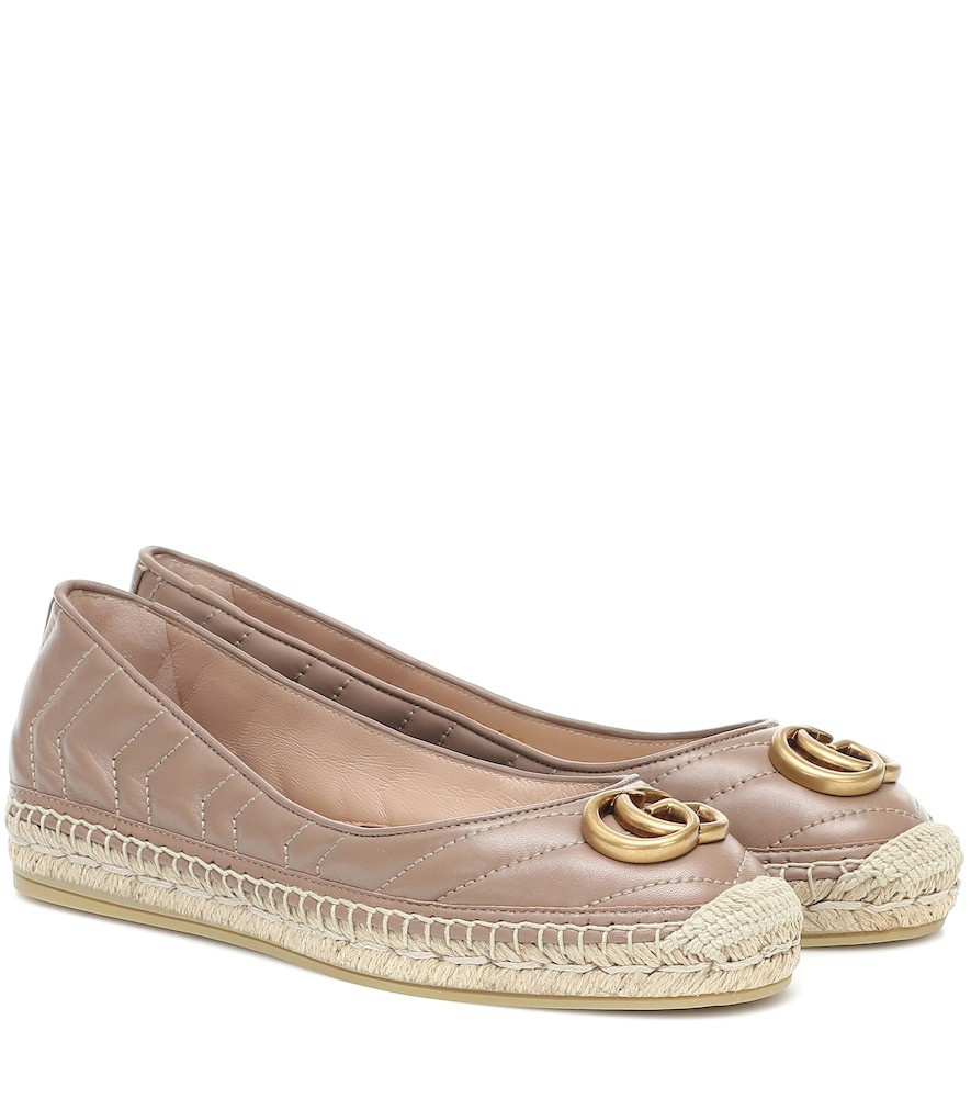 Gucci Marmont leather espadrilles in neutrals