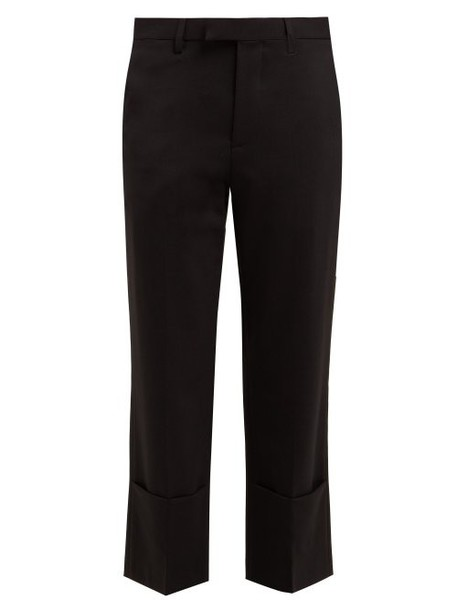 Raf Simons - Cropped Virgin Wool Oxford Trousers - Womens - Black
