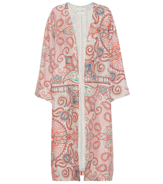 Etro Printed silk-crêpe coat