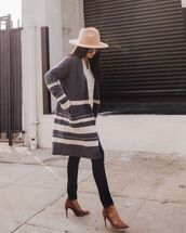 shoes,pumps,pointed toe pumps,skinny jeans,grey cardigan,stripes,white sweater,v neck,hat