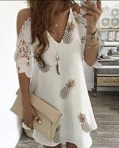 dress,pineapple,white dress,flowy