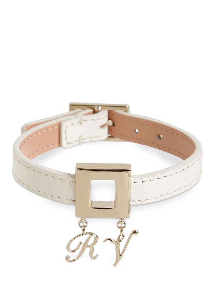 ROGER VIVIER Leather Bracelet W/metal Charm Buckle in white
