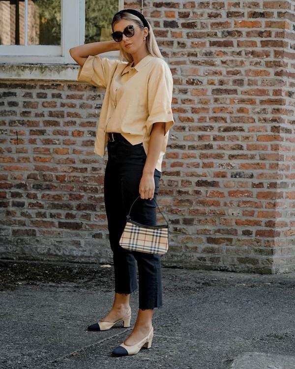 top shirt short sleeve black jeans cropped jeans high waisted jeans slingbacks plaid handbag mango
