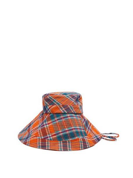 Lola Hats - Georges Checked Cotton Bucket Hat - Womens - Orange