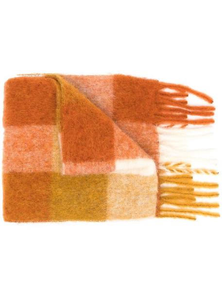 Acne Studios check print scarf in orange