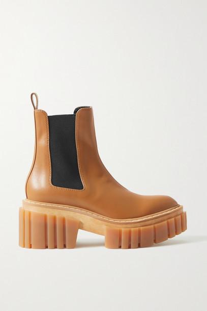 Stella McCartney - Emilie Vegetarian Leather Platform Chelsea Boots - Brown