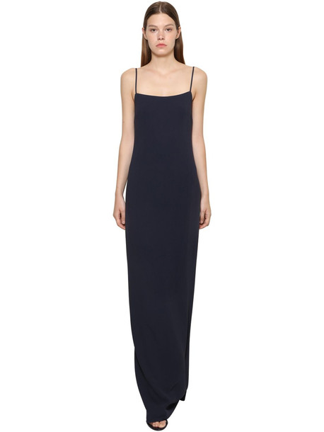 RALPH LAUREN COLLECTION Long Stretch Cady Dress in navy