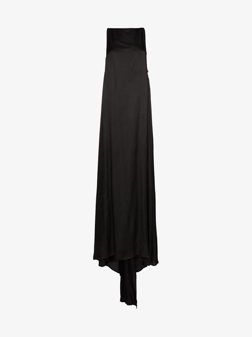 Ann Demeulemeester Long silk semi-sheer sleeveless gown in black
