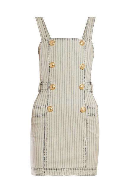 Balmain - Striped Denim Mini Dress - Womens - Blue White