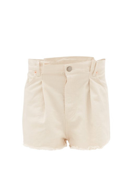 Raey - Fold Raw-hem Denim Shorts - Womens - Ivory