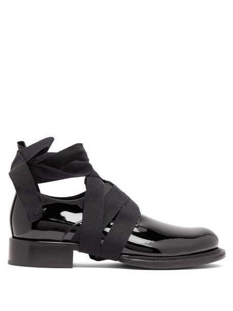 Ann Demeulemeester - Ankle Tie Patent Leather Loafers - Womens - Black