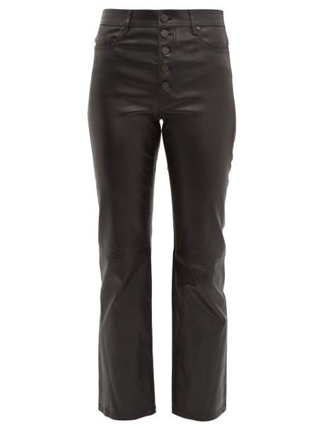 Joseph - Den Leather Kick Flare Trousers - Womens - Black