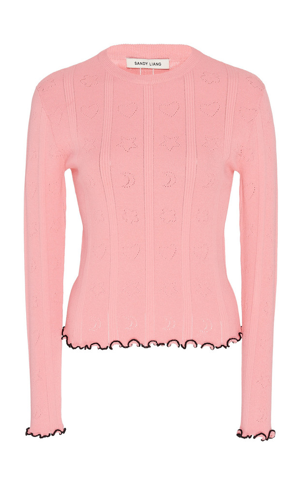 Sandy Liang Signals Ribbed-Knit Top Size: S in pink