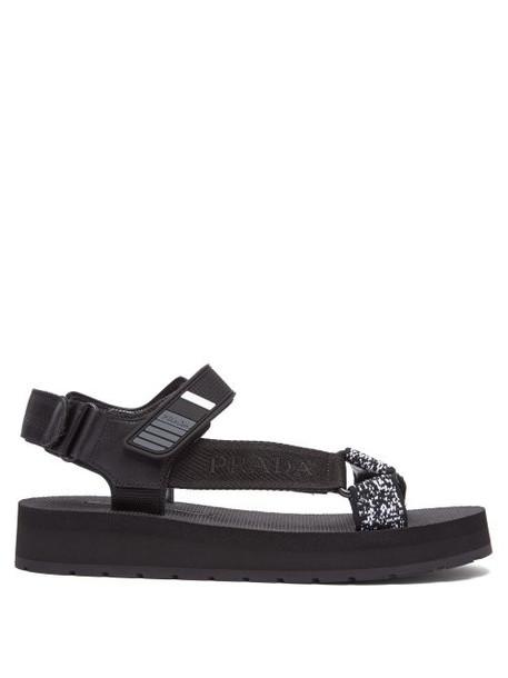Prada - Logo Plaque Strap Leather And Grosgrain Sandals - Womens - Black