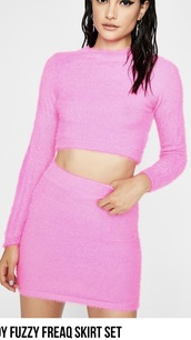 top,two-piece,skirt,cropped,crop tops,neon,pink,long sleeves,dress