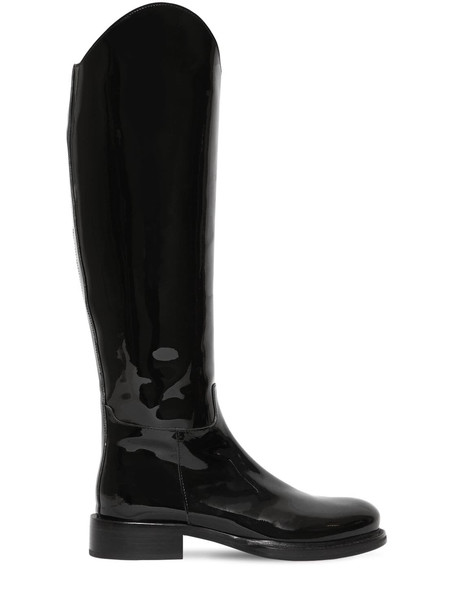 ANN DEMEULEMEESTER 30mm Patent Leather Tall Boots in black