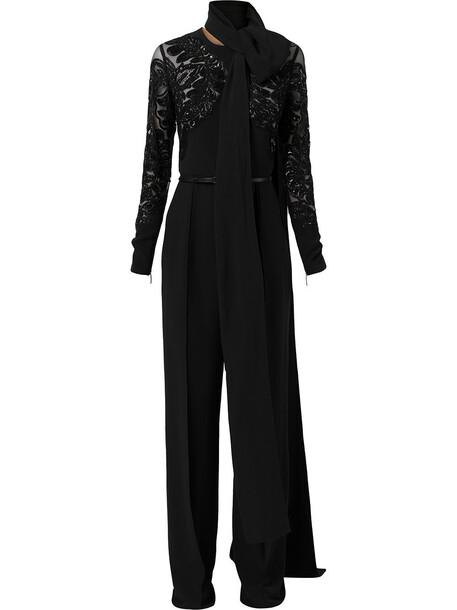 Elie Saab bead-embroidered longsleeve jumpsuit - Black