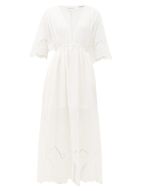 Rhode - Liam Plunge-neck Broderie-anglaise Cotton Dress - Womens - White