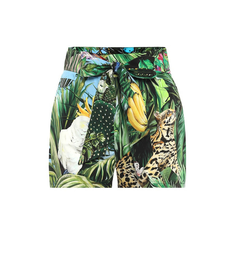 Dolce & Gabbana Printed cotton-twill shorts in green