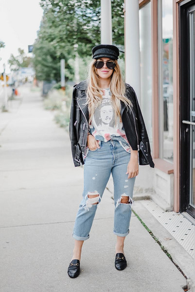 blonde bedhead blogger hat sweater top sunglasses scarf t-shirt jeans jacket