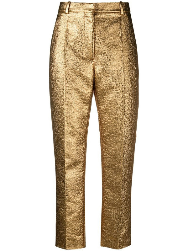 Valentino golden cropped trousers in gold