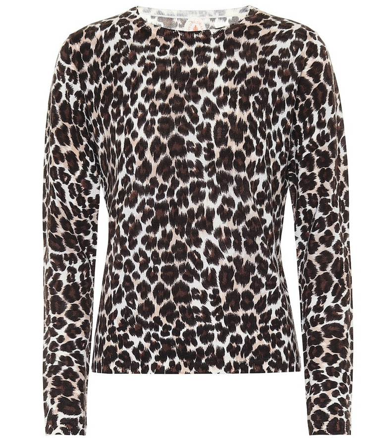 Jardin des Orangers Leopard-print merino wool sweater in brown