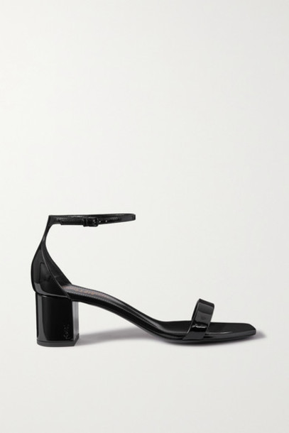 SAINT LAURENT - Loulou Patent-leather Sandals - Black