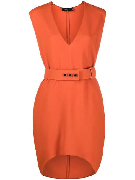 Dsquared2 V-neck belted dress in orange