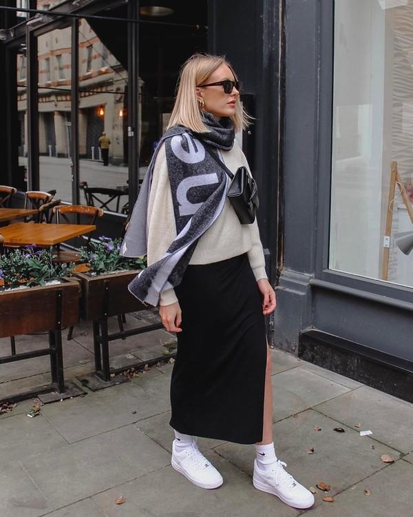 scarf black and white sneakers maxi skirt black skirt slit skirt sweater bag