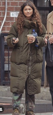 coat,puffer jacket,khaki,zendaya