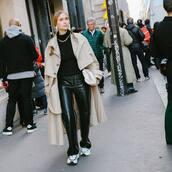 coat,trench coat,long coat,white sneakers,leather pants,black leather pants,black turtleneck top,turtleneck sweater