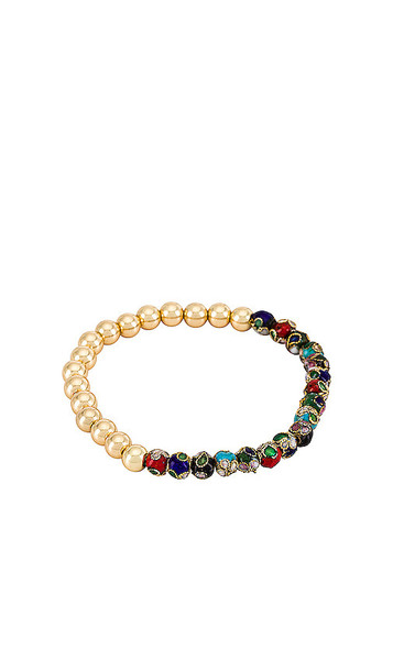 BaubleBar Floral & Gold Bead Pisa Bracelet in Metallic Gold in multi