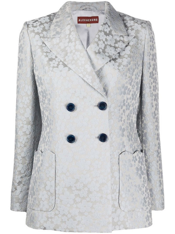 Alexa Chung double-breasted floral blazer in grey