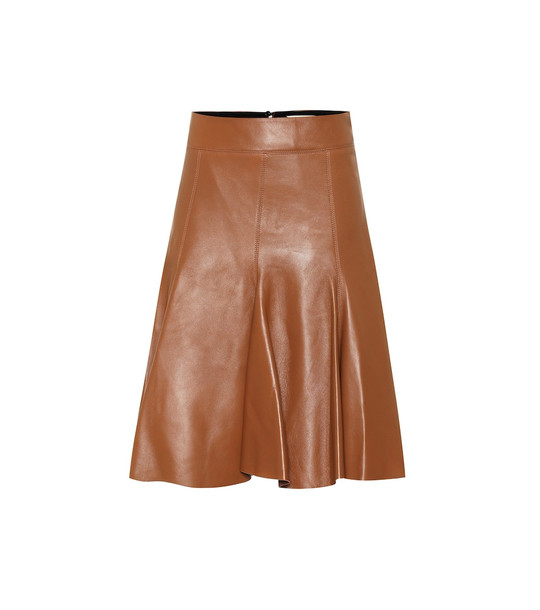 Dorothee Schumacher Exclusive to Mytheresa – Modern Volumes leather midi skirt in brown