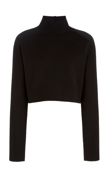 Helmut Lang Cropped Wool-Blend Turtleneck Sweater Size: S in white