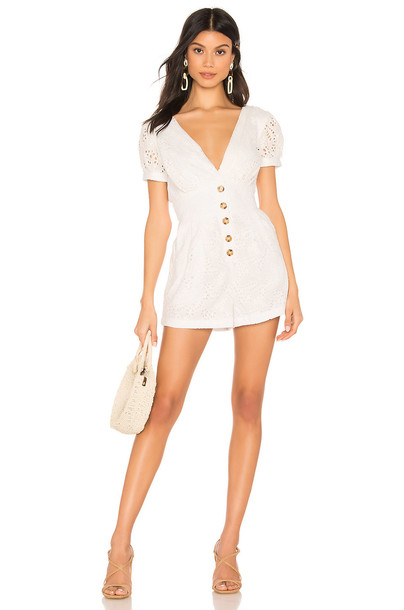 MAJORELLE Star Studded Romper in white