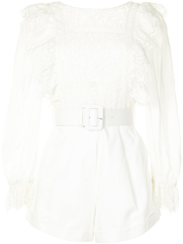 Self-Portrait lace-trimmed belted playsuit in white
