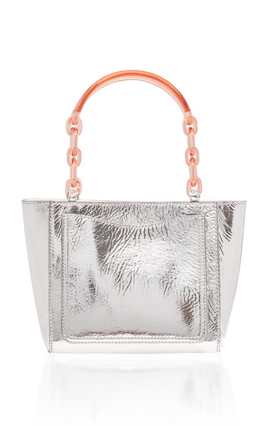 Edie Parker Metallic Leather Micro Tote in silver