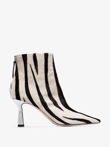 Wandler white and black Lina 75 zebra print ponyskin ankle boots