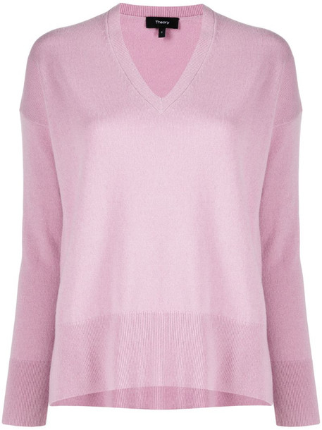 Theory Karenia v-neck cashmere jumper in pink