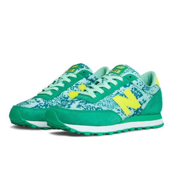 New Balance Camo 501 Women's Running Classics Shoes - Mint, Teal, Yellow (WL501FCS)