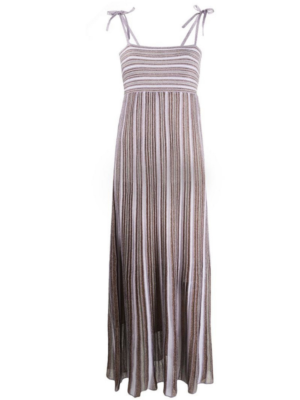 M Missoni pleated stripe maxi dress in purple