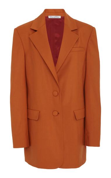 Oscar de la Renta Wool-Blend Blazer in orange