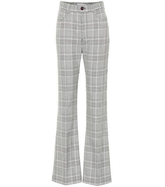 See By Chloé Checked high-rise wide-leg pants in grey