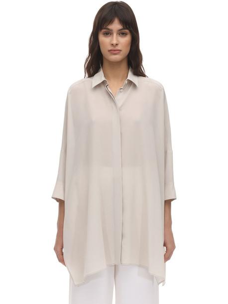 AGNONA Long Silk Shirt in beige