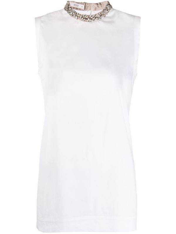 Prada Pre-Owned 2000s crystal-embellished tank top in white