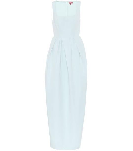 Staud Iris cotton-blend maxi dress in blue