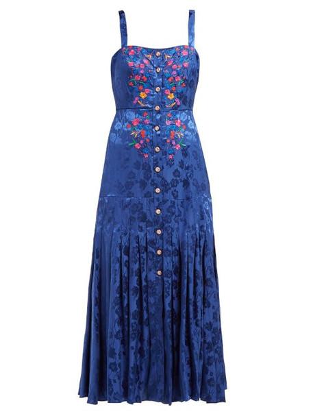 Saloni - Karen Floral Jacquard Silk Midi Dress - Womens - Blue Multi